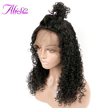 Alishes שיער מלזי מתולתל רמי שיער אדם פאות מראש מעוטרת תחרה פאה הקדמי עבור נשים שחורות קו שיער טבעי עם שיער בייבי