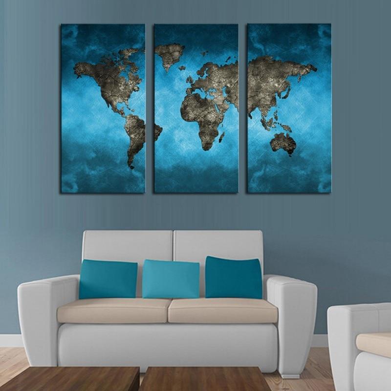 3 ploče sažetak mornarsko plava karta svijeta slikanje platna - Kućni dekor - Foto 3