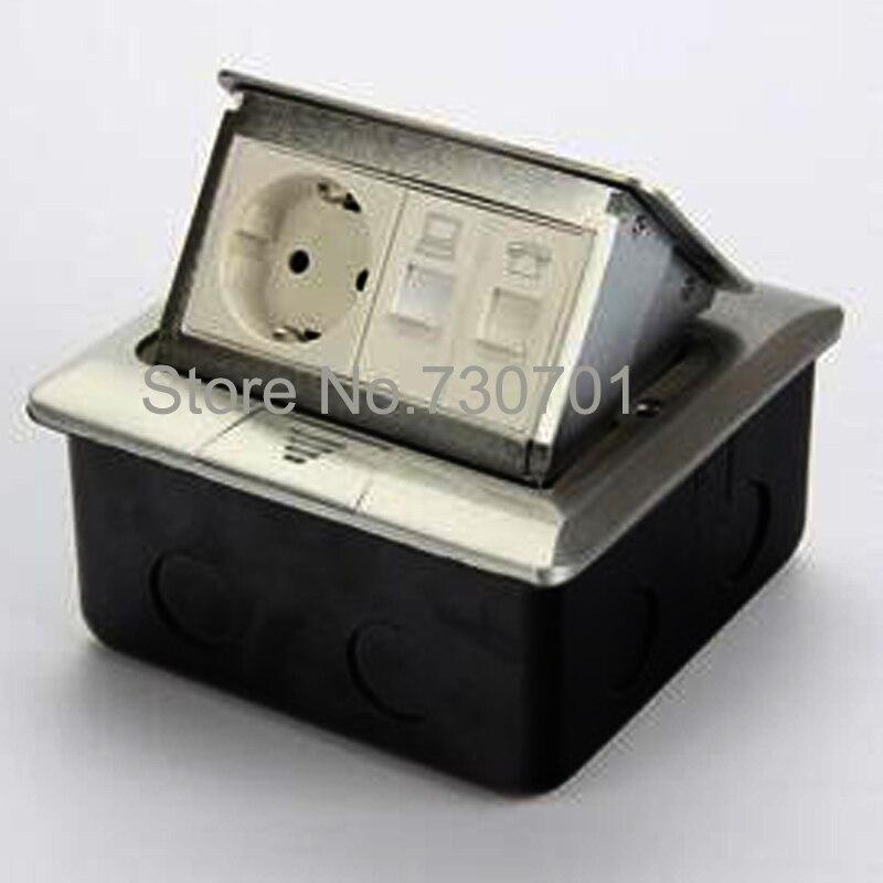 6.5 ft Cor Recessed Power Strip Socket Desk Power Grommet 1 Outlet 2 usb ports