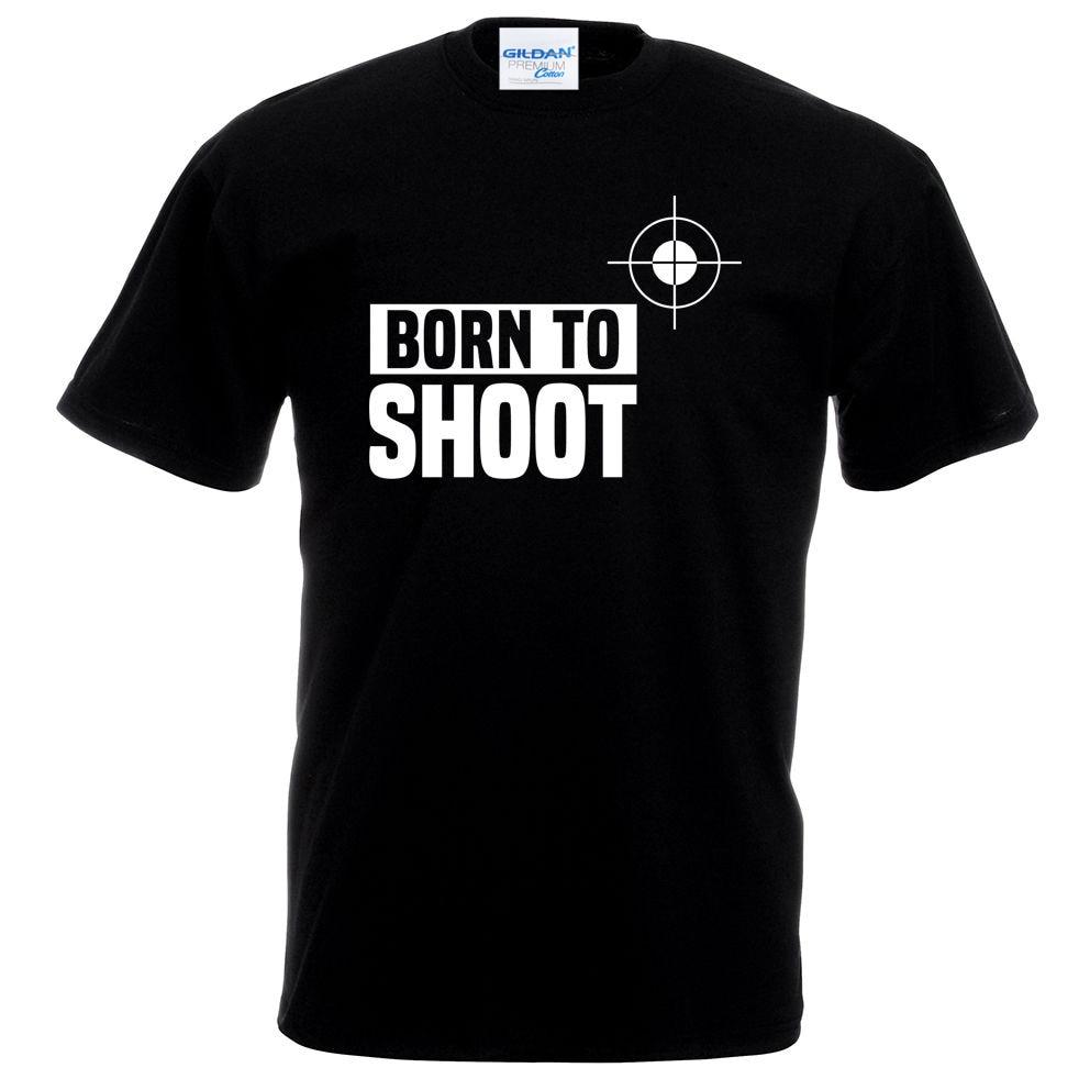 HOT SALE 2018 New Fashion Brand Crew Neck Born To Shoot arget Gun Archery Dad Fathers Day Husband Birthday Gift T shirt custom