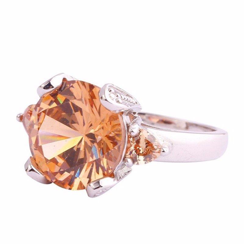 Модные ювелирные изделия, кольцо цвета шампань с цирконом, Свадебные обручальные кольца для женщин, бижутерия, женские подарки на годовщину