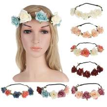 8Colors Wedding Bridal Roses Flowers Hair Band Clasp Head Wrap(China)
