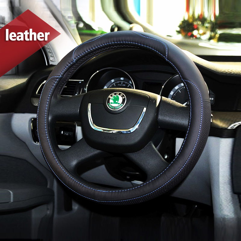 Leather Car Styling Steering Wheel Cover Sport For Skoda Kodiaq 2017 Octavia 2 3 a5 A7 Fabia Yeti Rapid Superb 1 2 Accessories bannis genuine leather steering wheel cover for skoda octavia superb 2012 fabia skoda octavia a 5 a5 2012 2013 yeti