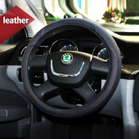 Leather Car Styling Steering Wheel Cover Sport For Skoda Kodiaq 2017 Octavia 2 3 a5 A7 Fabia Yeti Rapid Superb 1 2 Accessories