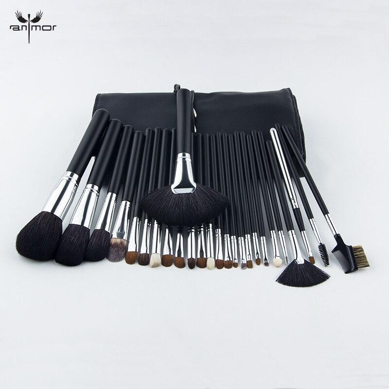 Anmor haute qualité 26 pièces pinceau de maquillage professionnel ensemble brosse cosmétique de cheveux de chèvre ensemble avec sac de brosse BZ002