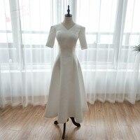 Tea Length A Line Weding Dresses 2018 Simple Late Summer Short Sleeve Satin Vestido De Noiva Beach Bridal Gown ZW078