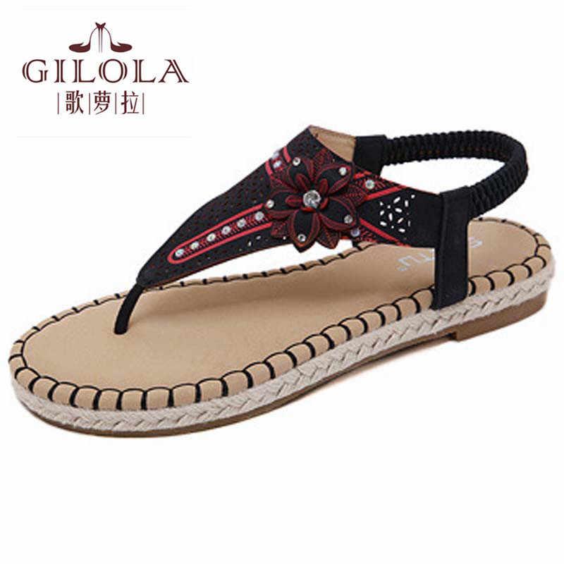 Новинка женские сандалии на плоской подошве босоножки женская обувь с цветочным