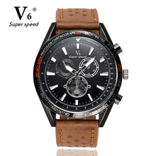 V6 Mens Watches NORTH Brand Luxury Casual Military Quartz Sports Wristwatch Leather Strap Male Clock watch relogio masculino