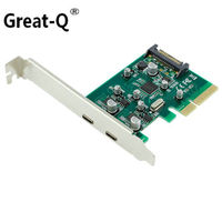 Great Q dual USB C USB 3.1 Type C PCI express Card pcie pci e 4x to Type C adapter SuperSpeed 10Gbps riser card adaptator