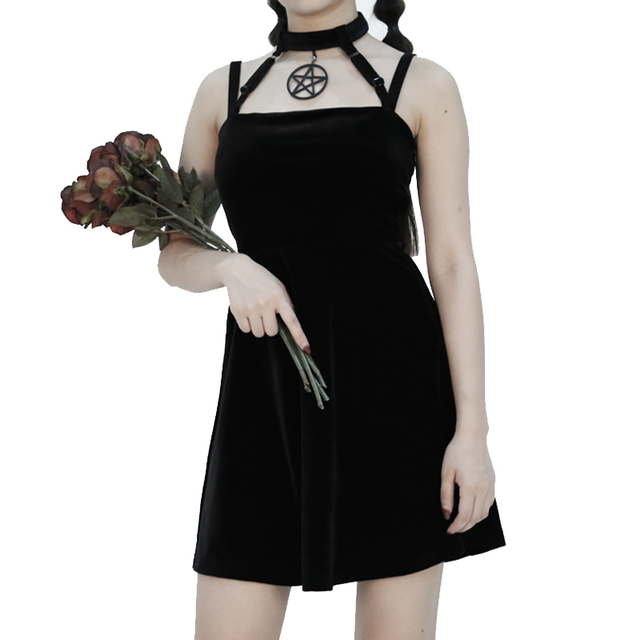 Dark Gothic Witch Five Stars Cross Love Bandage Tie Dress 5