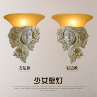 head Arts Crafts European style wall lamp bedroom bedside lamp wall lamp retro background American living room wall lamp resin a