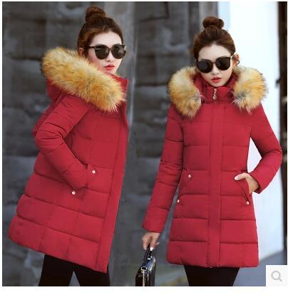 Hot-selling cotton women's long-term winter Korean women's big hair collar Slim down jacket women winter jacket size L-XXXL