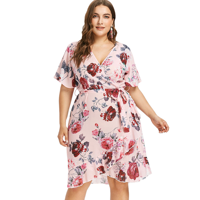 Gamiss Women Plus Size Short Sleeve Floral Print Surplice Dress Faux ...