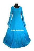 Blue Velvet Fabric Ladies Deluxe Quality Medieval Renaissance Costume/Cosplay Dress/Victorian Dress/Stage Costume