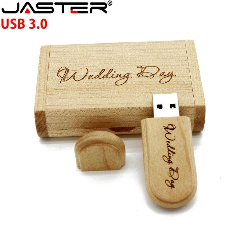 JASTER Customize LOGO USB 3.0 Flash Drive 4gb 8gb 16gb 32gb Pen Drives Maple Wood Usb Stick