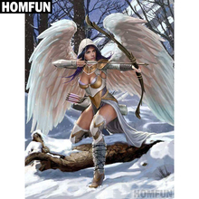 """HOMFUN Full Square/Round Drill 5D DIY Diamond Painting """"angel with wings"""" 3D Embroidery Cross Stitch 5D Decor Gift A00514"""