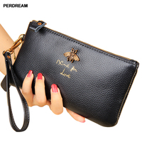 PERDREM New Fashion Cowhide Wallet Soft Zipper Wallet for Woman Bee Embroidery Lovely Purse ID Card Hoder Card Wallet