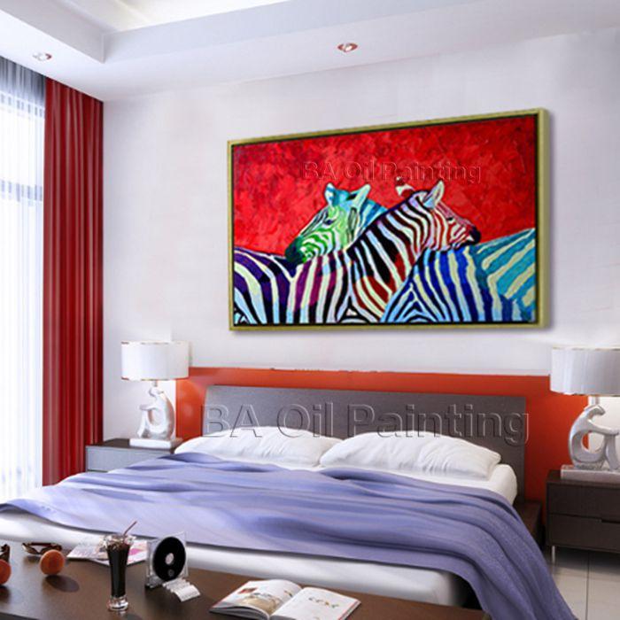 Moderno abstracto decorativo cebra pintura al óleo sobre lienzo arte ...