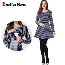 Emotion Moms Cotton spring Long maternity clothes Lactation Top Breastfeeding Tops for Pregnant Women maternity T shirt