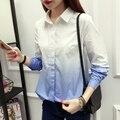 Контраст Цвета Блузка Женщины Рабочая Одежда Кнопка Вверх Turn Down ошейник С Длинным Рукавом Хлопок Рубашки Верхней Плюс Размер S-XL blusas feminina