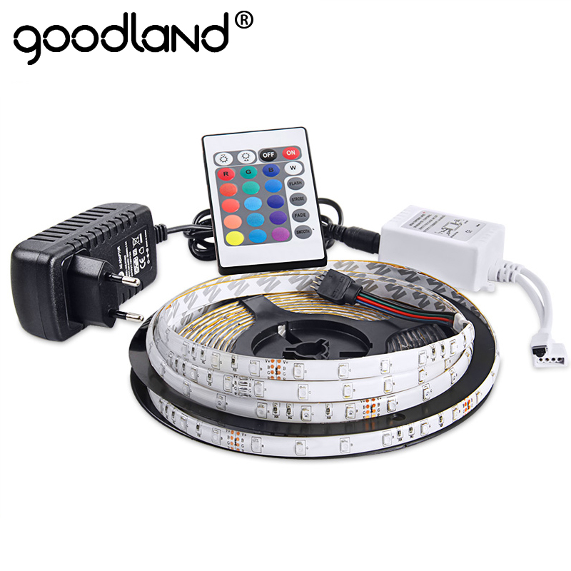Goodland Wasserdichte LED RGB streifen licht SMD3528 IP65 Fiexble Licht 60LED/M 5 mt DC 12 v Adapter Power 2A RGB streifen LED Band