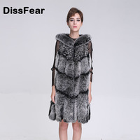 Fashion Winter Women Natural Dark Gray Fox Fur Vest Medium Long O Neck Sleeveless Jacket Overcoat