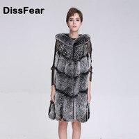 Fashion Winter Women Natural Dark Gray Fox Fur Vest Medium Long O Neck Sleeveless Jacket Overcoat