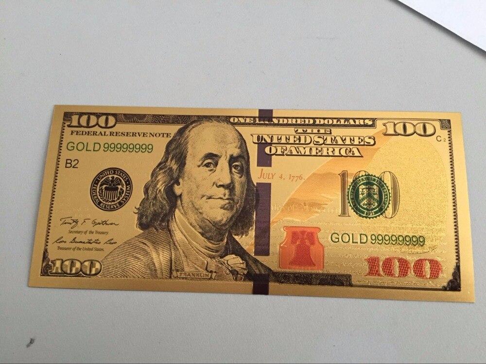 100 adet 100 Dolar ABD Altın Sahte Banknot Mavi Şerit Ile Para Birimi Fatura Kağıt Para Sikke Madalya 24k noel hediye