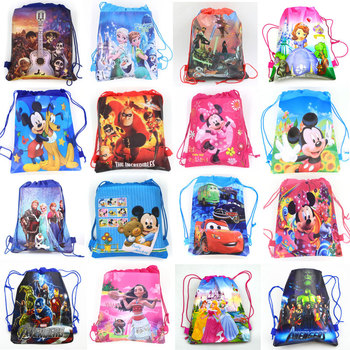 1pcs Disney Non-woven Fabrics Kid Favor Travel Pouch Storage Clothes Shoes Bags Cotton Drawstring Bags School Portable Backpack
