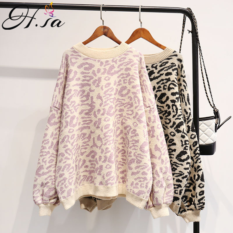 HSA 2018 Autumn Winter Women Leopard Pullover And Sweaters Round Neck Oversize Sweater Jumpers Casual Leopard Korean Pull Femme