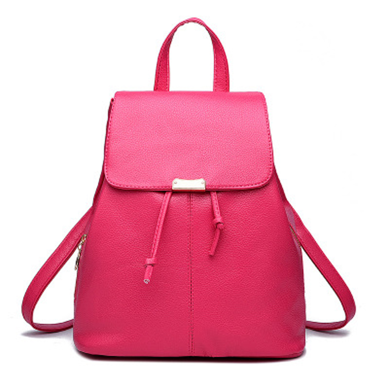 Latest Women Casual Backpacks Large School Bags For Teenager Boys Girls Travel Backbag Solid Soft PU Fashion Bag