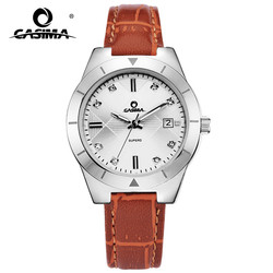 CASIMA Fashion Simple Casual Leather Watchband Calendar Display Ladies Watch Waterproof Luminous Hands 2620