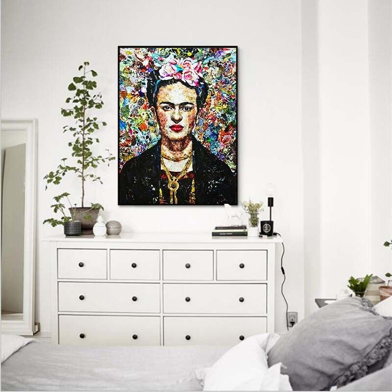 Mur Art Déco Photo Frida Carol Auto Portrait Personnalisé Toile Européen et Américain Caractères Peinture Décorative