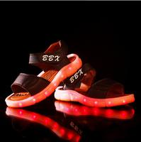 New 2016 LED European Fashion USB Recharge Baby Sandals Cool Girls Boys Clogs Lovely Summer Casual