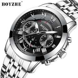 BOYZHE Men Quartz Watch Waterproof Stainless Steel Timing Relogio Masculin Luminous Calendar Mens Watches Top Brand luxury