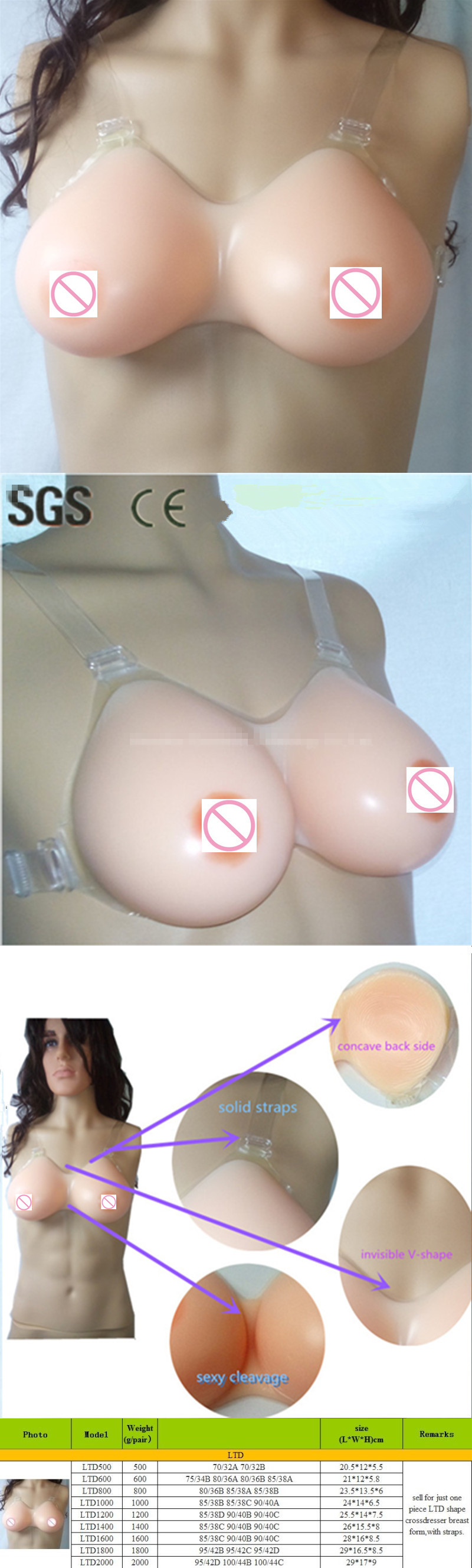 800g/piece c/d cup artificial form boobs tits silicone breast big