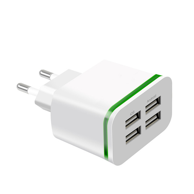 USB Charger for iPhone Samsung Android 5V 2A 4 Ports Mobile Phone Universal Fast Charge LED Light Wall Adapter usb wall charger