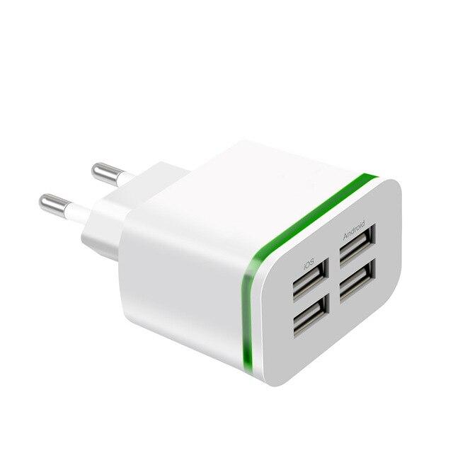 USB ładowarka do telefonu iPhone Samsung z systemem Android 5 V 2A 4 porty telefon komórkowy uniwersalny szybkie ładowanie światła LED adapter ścienny ładowarka ścienna usb