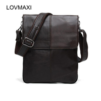 LOVMAXI 100% cow leather Men's shoulder bags Male causal messenger bags Coffee first layer of genuine vintage handbags small bag