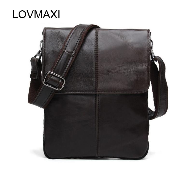 LOVMAXI 100% cow leather Men's shoulder bags Male causal messenger bags Coffee first layer of genuine vintage handbags small bag bag female new genuine leather handbags first layer of leather shoulder bag korean zipper small square bag mobile messenger bags