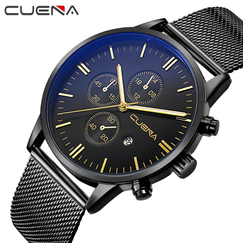 CUENA Brand Men Fashion Quartz Watches Waterproof Casual Complete Calendar Wristwatches Relogio Masculino 6619G 2017 new top fashion time limited relogio masculino mans watches sale sport watch blacl waterproof case quartz man wristwatches