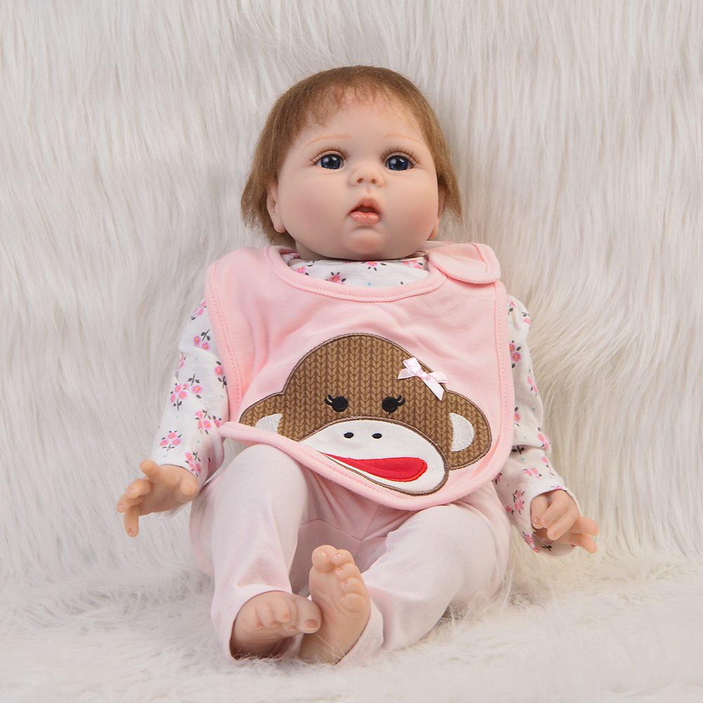 Real Looking 22 Doll Reborn Baby Soft Silicone Vinyl Alive Newborn Fashion Girl Dolls Birthday Gifts Cloth Body Toy Kids Gifts hot sale 2016 npk 22 inch reborn baby doll lovely soft silicone newborn girl dolls as birthday christmas gifts free pacifier