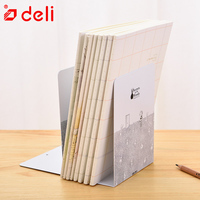 Deli 1Pair Lot Bookends Decorative Desk Stand Cute Metal Book Shelf Book File Document Reading Shelfs