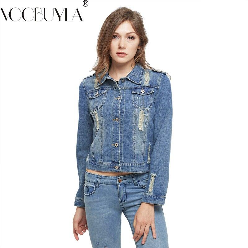 VooBuyLa Brand Plus Size 5XL 6XL Autumn Oversize Denim Jacket Women 2017 Slim Cotton Light ...