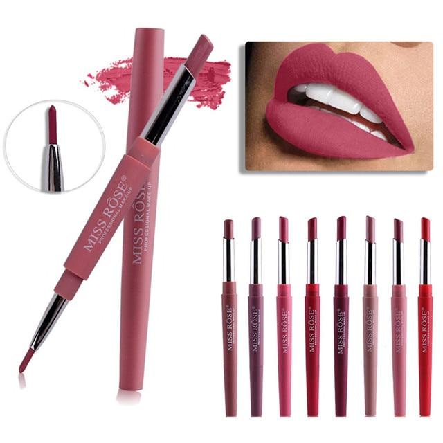 8 colores de doble extremo maquillaje de labios lápiz labial impermeable de larga duración tinte Sexy rojo lápiz labial belleza mate delineador pluma lápiz labial