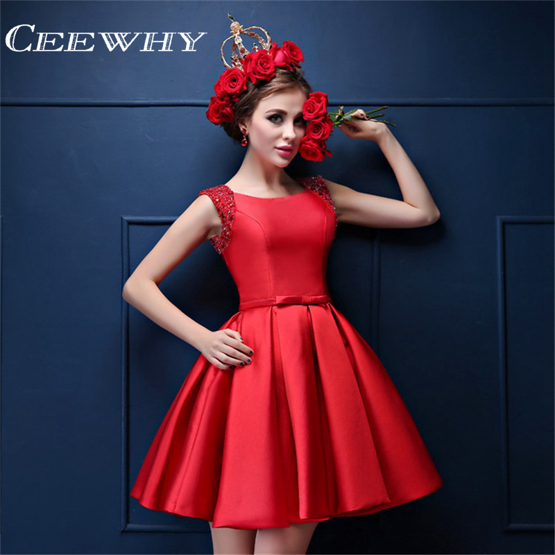 CEEWHY O-Neck Sleeveless Satin Formal Evening Party   Dresses   Beaded Short FormalGown Above Knee Red Robe de   Cocktail     Dresses