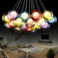 Bricolage moderne Led coloré verre pendentif lumières pour salon salle à manger boutique Bar maison Dec G4 verre pendentif lampe lampadario moderno