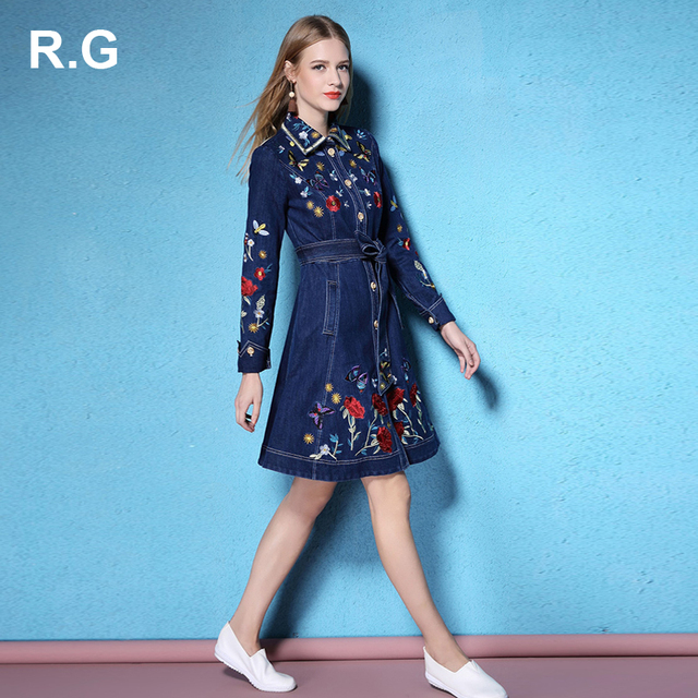 498ea1915c9c RG Bohemian Style Denim Jean Dresses Women Animal Flower Embroidery A-Line  Blue Color Boho Office Dress with Sashes Autumn 2017