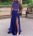 Azul Royal Sexy Duas Peças Vestidos de Baile Longo de 2017 Elevado Side Dividir Gola Alta Sem Encosto Vestidos de Noite Desgaste Formal Do Partido dress