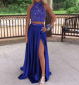 Sexy Royal Blue Two Pieces Prom Dresses Long 2017 High Side Split High Neck Backless Dresses Evening Wear Formal Party Dress
